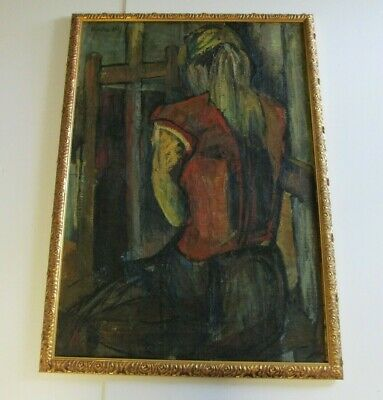 Antique  Painting Signed Kirsten Abstract Expressionism Portrait Artist Studio