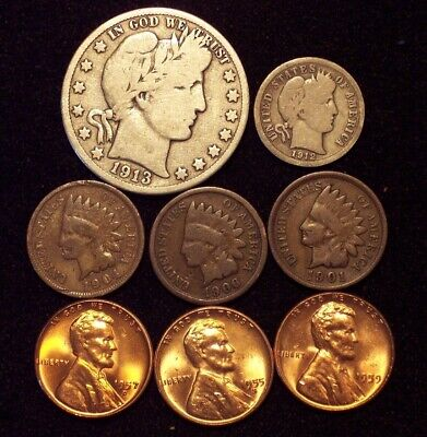 LOT: 1913-D Barber Half Dollar, Dime, 3 Indian Head Cents, 3 Unc Lincoln Cents