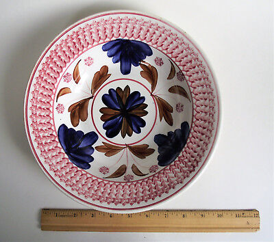 """LARGE Stick SPATTERWARE 10"""" BOWL Painted SPONGED Spatter FLORAL RED BLUE BELGIUM"""