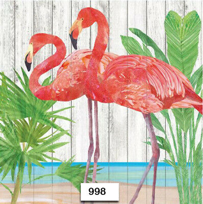 (998) TWO Individual Paper Luncheon Decoupage Napkins - PINK FLAMINGOS BIRDS