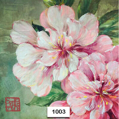(1003) TWO Individual Paper Luncheon Decoupage Napkins - FLOWERS, PINK, FLORAL