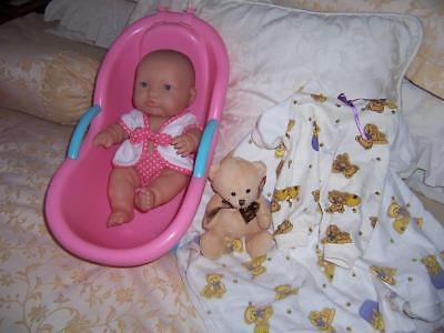 Berenguer Baby Doll Vinyl Jointed Body Jc Toys Baby Bath Original Outfit Bear