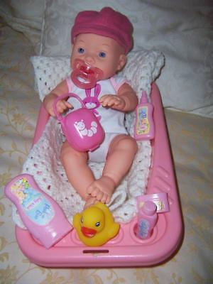 Newborn Baby Tinkers Original Outfit Pink Doll Bath Pretend Items Duck Dummy
