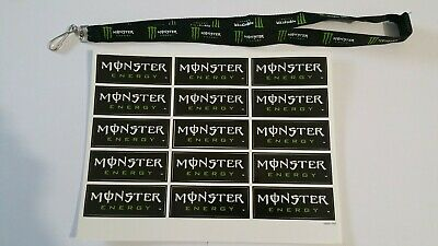 Lot Planche stickers Monster Energy + Lanyard Monster