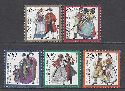 GERMANY - 1994 HUMANITARIAN RELIEF fund  set of 5  MNH - Traditional Costumes