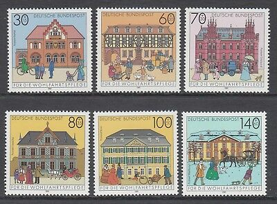 GERMANY - 1991 HUMANITARIAN RELIEF fund  set of 6  MNH - Postal Buildings