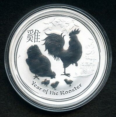 """2017 Australia 1 Dollar Proof 1 Oz Silver Coin .9999 Pure """"Year Of The Rooster"""""""