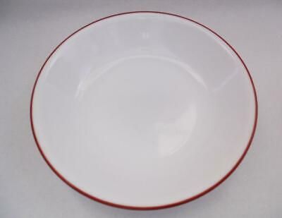 "Corelle GYPSUM Sandstone 18-oz SOUP Cereal BOWL 7 1/4"" Burgundy Maroon RED RIM"