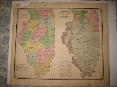 Antique 1871 Illinois Political Geological Handcolored Map Chicago Coal Mining