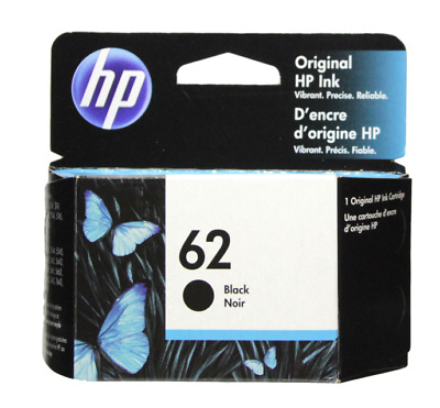 HP #62 Black Ink Cartridge 62 C2P04AN NEW GENUINE