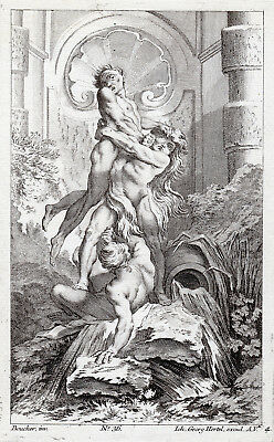 """Amazing François BOUCHER 1700s Engraving """"Hercules and Cacus"""" SIGNED Framed COA"""