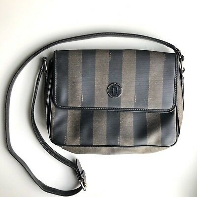 ce5fdde355 Fendi Vintage Crossbody Shoulder Bag Purse Brown Black Pequin Stripe  Authentic