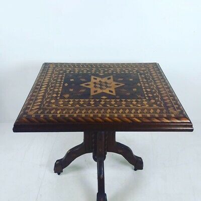 A Unique Antique Folk Art Marquetry Inlaid Game Table, Pennsylvania, 1920's