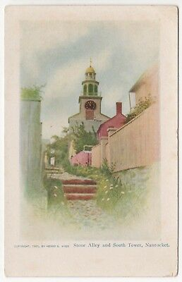 NANTUCKET MASSACHUSETTS PC Postcard ISLAND Henry Wyer STONE ALLEY 1905 Tower