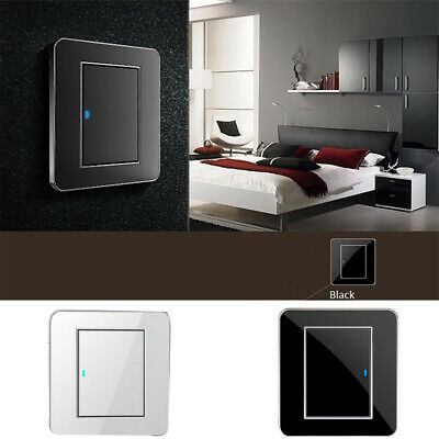1 Gang 1 Way Switch Acrylic Crystal Mirror LED Light Wall Push Button Panel 16A