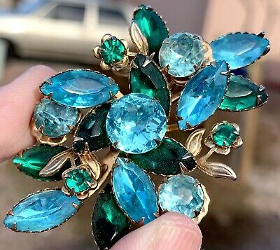 Vintage Gold Brooch Flower Rhinestone Floral Pin Estate Antique Turquoise Green