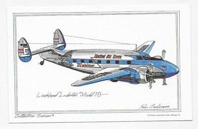 LOCKHEED LODESTAR MODEL 18 Airplane Art ROY ANDERSEN Unposted Post Card #299