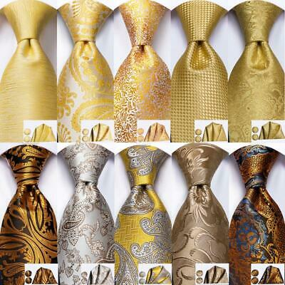 USA Champagne Beige Gold Yellow Solid Paisley Novelty Silk Necktie Mens Tie Set