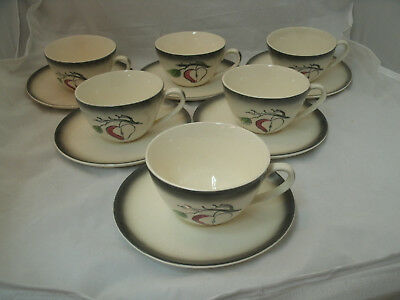 Blue Ridge Southern Potteries FANTASY APPLE 6 Tea Coffee Cup & Saucer Sets 1970s
