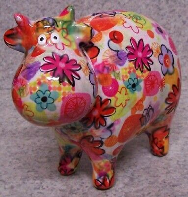 Coin Piggy Bank Ceramic Savings Animal Dairy Cow NEW multicolor pastel base