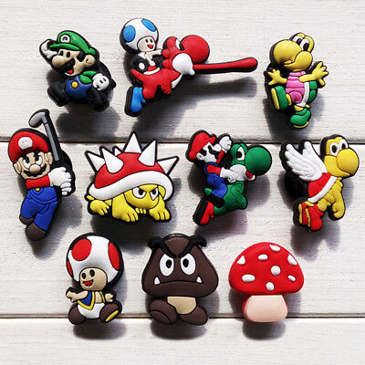 10pcs/lot Super Mario PVC Shoe Charms Accessories fit in Shoes & Bracelets Gifts