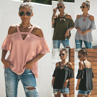UK Womens Summer Casual Cold Shoulder Blouse Ladies Loose T Shirt Tops Size 6-16