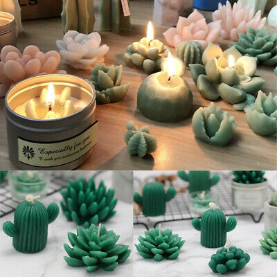 Succulent Cacti Candle Mold Moulds Soap DIY Craft Art Plaster Silicone Tool Acc