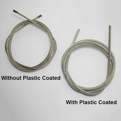 2.5~6mm Stainless Steel Wire Rope Cable Flexible PVC Plastic Coated 5M/10M Long