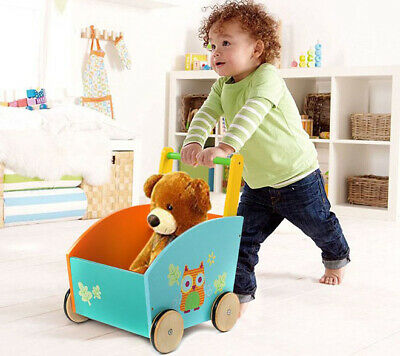 Infant First Steps Push Along Walker Toy Baby Mobility Wooden Pull Storage Box++