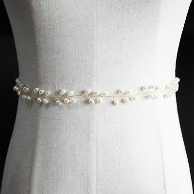Fasion Gold Color Wired Pearl Wedding Belt Ribbon Bridal Waistband Belly Chain