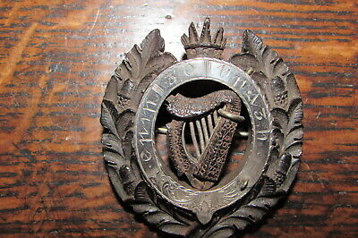 Antique Irish Erin Go Bragh Ireland Forever Bog Oak silver crown acorn brooch