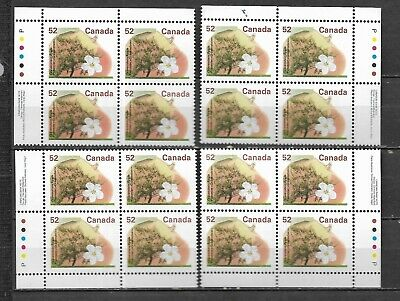 pk41933:Stamps-Canada #1366 Gravenstein Apple 52 cent Plate Block Set- MNH