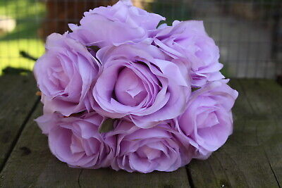 7 x LILAC SHADED SILK ROSES 7cm TIED BUNCH / SMALL BOUQUET