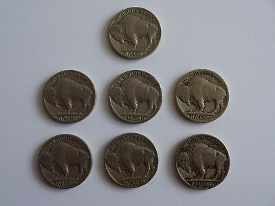 7 Buffalo Nickels No Date 1934 1935 1936 1937 USA US Coins 5 Cents Lot