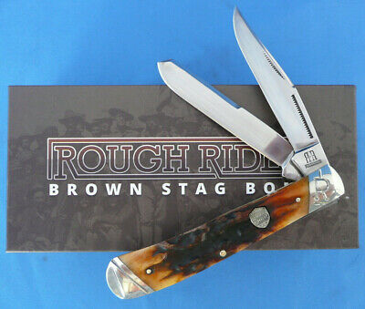 Rough Rider Brown Stag Bone Trapper Knife Stainless Steel RR1789