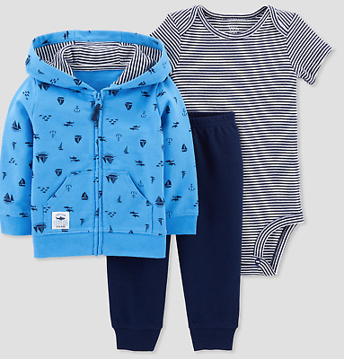 13c0327a7181 Baby Boy Sailboat Surf 3 PIECES Hoodie Jacket Pants Bodysuit NWT Carters 3  mo