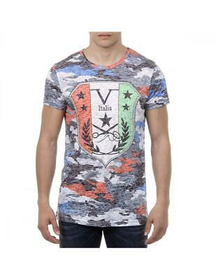 ac83e1a3a3 By versace V 1969 Italia Mens T-shirt Short Sleeves Round Neck blue red
