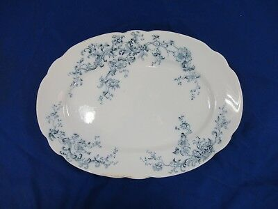 W.h. Grindley & Co England Serving Dish Blue & White Floral Pattern Good !!