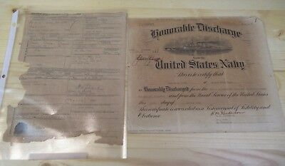 Ww Ii Us Navy Honorable Discharge Original Document & Separation Doc Pacific 46