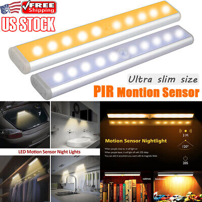 10LEDs Motion Sensor LED Under Cabinet Light Cupboard Wardrobe Shelf Wall Lamp