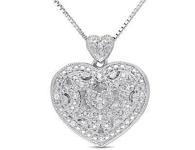 Accent Diamond Heart Locket Pendant Necklace in Sterling Silver with Chain