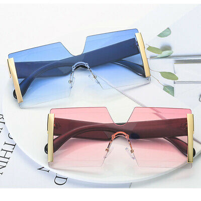 Fashion Square Siamese Rimless Sunglasses Metal Oversized Shades Eyewear Glasses