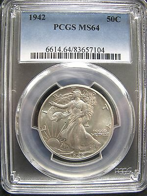 1942 Very Choice Brilliant Uncirculated 50¢ Walking Liberty Half Dollar PCGS-64