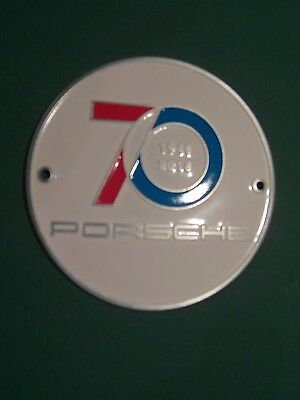 PORSCHE Plakette Badge 70 Jahre Years, Sportscar Together Day, weiß white, Neu