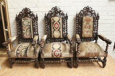 Set of Three (3) Large Antique Carved French Renaissance Hunt Arm Chairs