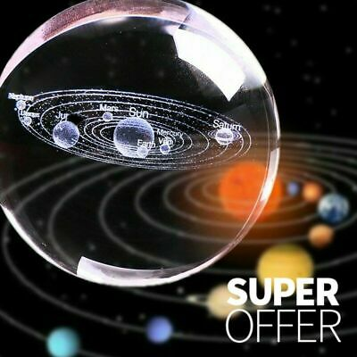 3D Solar System Crystal Ball Planets Glass Ball Laser Engraved Globe Miniature