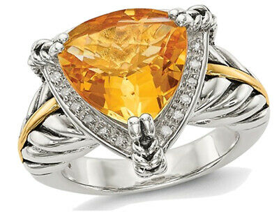 4 30 Carat Ctw Trillion Cut Citrine Ring In Sterling Silver