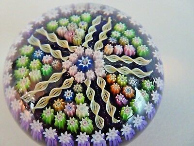 Vintage PERTHSHIRE Glass Scotland Double Spoke PP5 Millefiori Paperweight Purple