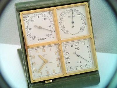 Rare Vintage 1950 Angelus Four Some 8 Day Clock Calendar Weather Travel Alarm