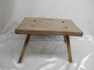 Amazing Antique Primitive Wood Milking Stool Bench 4 Leg Chair Old Pabps2019 Chair Design Images Pabps2019Com
